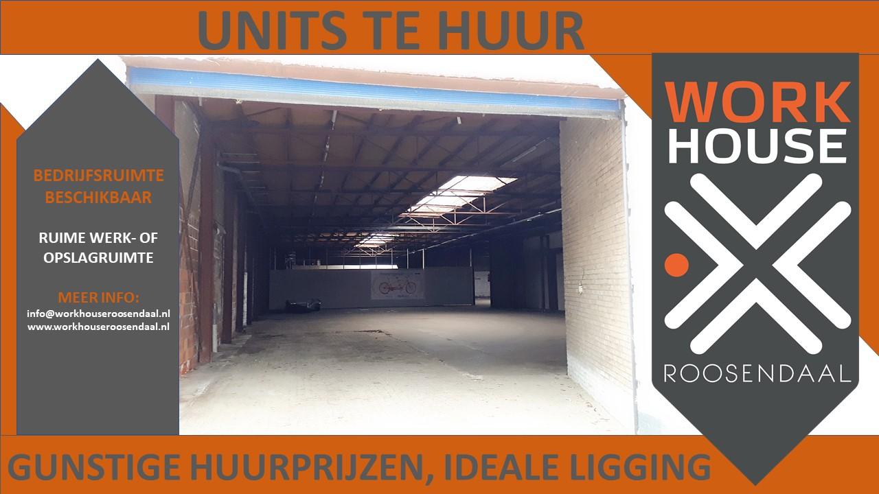 BEDRIJFSRUIMTE te huur Roosendaal. werkruimte, opslagruimte